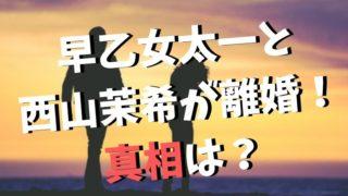 早乙女太一と西山茉希が離婚した真相!